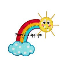 Digital Machine Embroidery Design -  Rainbow Applique