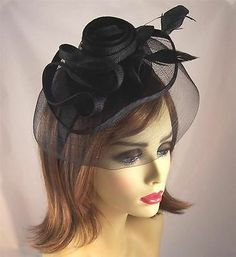 Black Fascinator Sinnamay Feather Flower Veil Bridal Headband  e773ed8d45a