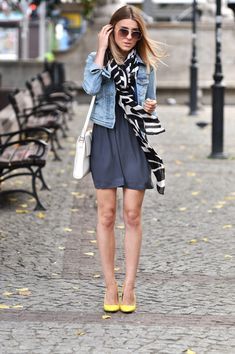 Cute outfit: navy dress, denim jacket, cute scarf and bright shoes