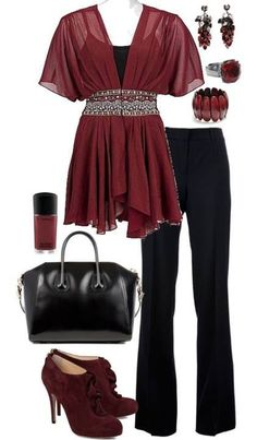 This is pretty for a nicer look.  I like the flowiness of the top.  I would need to wear shoes without heels though.