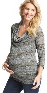 LOFT Maternity Layered Cowl Neck Sweater by Japanese Weekend | More maternity here: http://mylusciouslife.com/historical-maternity-fashion-style-across-the-ages/