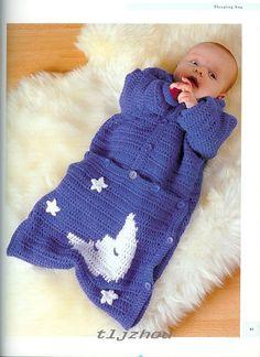 Crochet Knitting Handicraft: baby sleeping bag free up to 2yrs