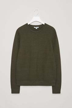 COS image 17 of Structured knit jumper in Khaki Green