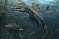A Spinosaurus ready to ambush a fish from underwater