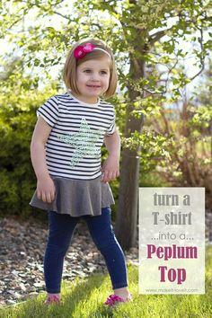 Turn a too-small Tshirt…into a PEPLUM TOP