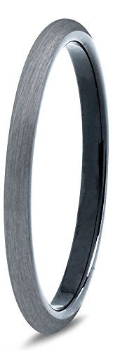 Tungsten Wedding Band Ring 2mm for Men Women Comfort Fit Black Domed Brushed Size 6 * Learn more @