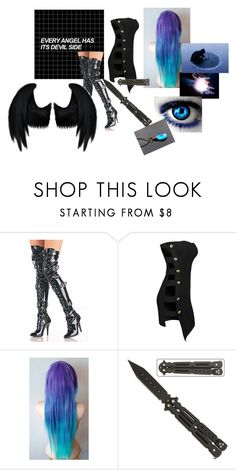 """Every angel has its devil side"" by eyeless-angel-of-death ❤ liked on Polyvore featuring Pleaser and Dickies"