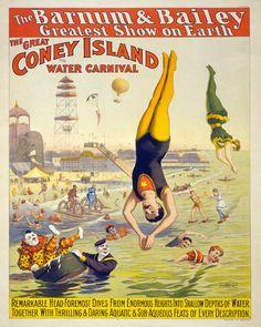 Affiche de cirque « Le grand Coney Island » Vintage Americana Carnaval Print - Moustache Man Acrobat - victorien Carnaval