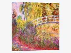 "Japanese Bridge Pond with Water Lilies by Claude Monet Canvas Print 37"" L x 37"" H x 0.75"" D"
