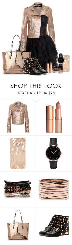 """Featured item: Rose gold leather jacket"" by onelittleme ❤ liked on Polyvore featuring WearAll, Charlotte Tilbury, Topshop, Effy Jewelry, Repossi, Urban Expressions, Sophia Webster, Kenneth Jay Lane, gold and black"