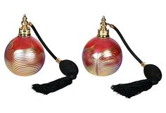 Pulled Feather Correia Art Glass Atomizers, Pair