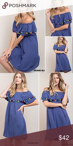 🔮NEW IN🔮 Summer Blue Pom Pom Off Shoulder Dress Beyond adorable! Pom Pom dress perfect for the summer! S m l and runs true/oversized. Gave XL an option as well as L can fit XL Dresses Mini