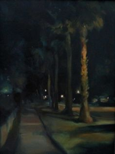 """Bay Shore Nocturne"", Original Painting, Size: 12"" x 16"", Materials: Oil on Canvas  Painted from direct observation on location: Bay Shore Rd, Sarasota, FL"