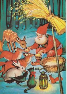 A gnome and his forest friends. Old Christmas, Vintage Christmas, Christmas Cards, Christmas Goodies, Scandinavian Christmas, Scandinavian Gnomes, David The Gnome, Kobold, Legends And Myths
