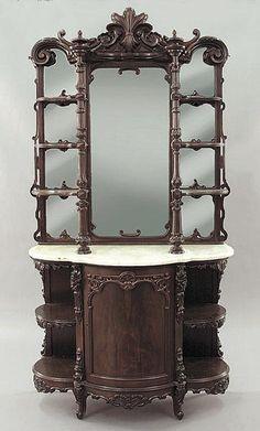 ~ American Rococo Etegere ~ nealauction.com Victorian Furniture, New Furniture, Antique Furniture, Gothic House, Queen, Dream Decor, Victorian Homes, Antique Items, Decoration