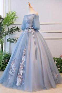 Others Unique blue tulle lace long prom dress, blue evening dress – shdress Capture Red Carpet Looks Cute Prom Dresses, Pretty Dresses, Beautiful Dresses, Formal Dresses, Dress Prom, Blue Evening Dresses, Ball Gowns Evening, Fantasy Gowns, Fairytale Dress