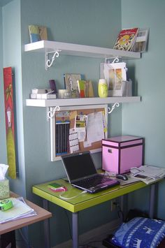 Shelves above the desk in the office...space saver!!