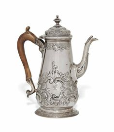 A GEORGE II ROCOCO SILVER COFFEE POT MAKER'S MARK ONLY OF FULLER WHITE, LONDON, CIRCA 1755