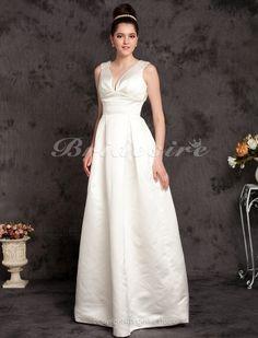 A-line Satin Floor-length V-neck Wedding Dress - $139.99