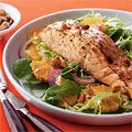 Glazed Salmon on Greens and Orange Salad - Easy Fish Recipes - Woman's Day