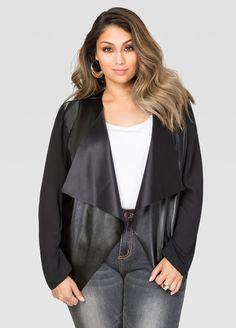 Sheer Sleeve Faux Leather Jacket-Plus Size Jackets-Ashley Trendy Fashion, Plus Size Fashion, Fashion Ideas, Plus Clothing, Size Clothing, Drape Cardigan, Faux Leather Jackets, Ashley Stewart, Outerwear Jackets