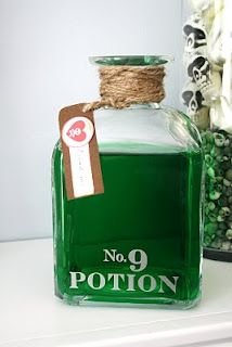"""Potion No.9~adhered another small vinyl decal to a bottle,some twine, food coloring, and """"drink me"""" tag to it"""