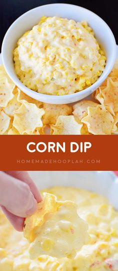 Corn Dip! A Mexican-style corn dip that's addictively good and that you can throw together in just 15 minutes. Makes for a perfect party snack! | HomemadeHooplah.com
