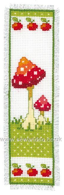Buy Toadstools I Bookmark Cross Stitch Kit Online at www.sewandso.co.uk