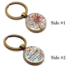 Custom map keychain you select location anywhere in the world one double sided custom vintage map keychain you pick any one or gumiabroncs Gallery