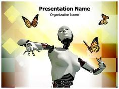 Technology and simple template full robot concept 2 different robotic science and butterflies powerpoint template is one of the best toneelgroepblik Gallery