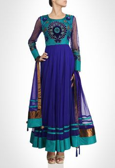 Blue Anarkali With Green Accents & Sequin Embelishments