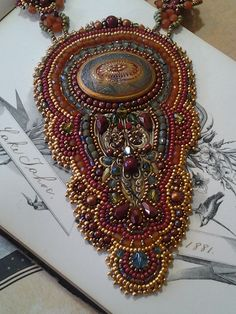 Bead embroidery intricate Vintage metalArt by KiowaRoseBeads Bead Embroidery Jewelry, Beaded Embroidery, Embroidery Patterns, Baubles And Beads, Beads And Wire, Seed Bead Jewelry, Beaded Jewelry, Beaded Necklaces, Art Nouveau