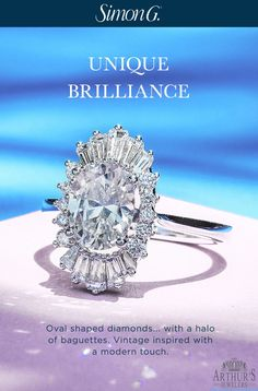 Oval Shaped diamonds with a halo of unique baguettes. Vintage inspired with a modern touch.