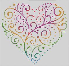 This is a counted cross stitch pattern of a patterned heart. This pattern will produce a unique and detailed pattern that will give you a stunning final piece. All patterns from Dueamici are hand designed using a professional cross stitch design program. This pattern is 150 stitches wide by