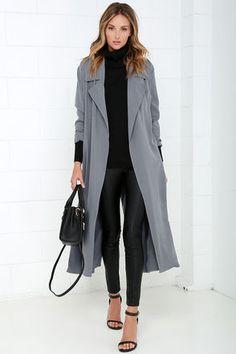 Lulus.com • Night Drive Grey Trench Coat