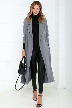 Lulus.com • Night Drive Grey Trench Coat
