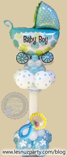 Torre de globos bebé con coche y sonajero - Baby Balloon columns