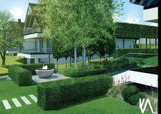 PROJECT / PRIVATE GARDEN 'BRZOZÓWKA' visualisation 'II'  ELEGANCE/ SIMPLYCITY / MINIMALISM Landscape Design, Golf Courses, Sidewalk, Mansions, House Styles, Home Decor, Decoration Home, Room Decor, Landscape Designs