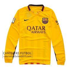 Segunda camiseta de manga larga Barcelona 2015 2016   camisetas de futbol baratas