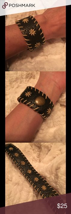 """LEATHER BRACELET Very trendy Brown leather bracelet, smooth underside for comfort and embroidered with small star flowers and woven along the side. there are 3 brass snaps that fit a wrist from 6.5"""" to 7.5"""". Price firm Intimates & Sleepwear Panties"""