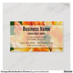 Shop Orange Rhododendron Flowers Business Card created by printcreekstudio. Photography Business Cards, Business Names, Things To Come, Orange, Flowers, How To Make, Prints, Company Names, Royal Icing Flowers