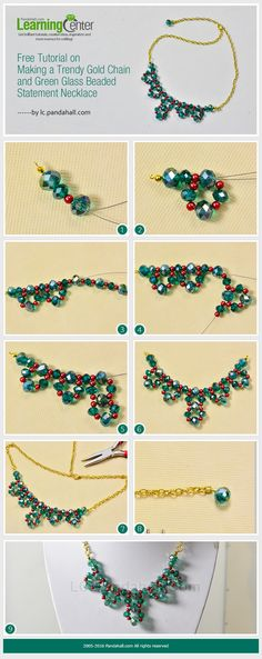 Free Tutorial on Making a Trendy Gold Chain and Green Glass Beaded Statement Necklace from LC.Pandahall.com