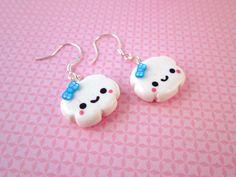 Happy Cloud Kawaii Polymer Clay Dangle Earrings by DoodieBear, $10.00
