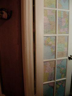 Vintage maps inside door panels.