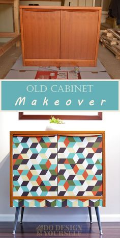 Use self-adhesive vinyl wallpaper for easy cabinet makeover. Ikea Furniture Hacks, Laminate Furniture, Diy Furniture Easy, Furniture Makeover, Furniture Decor, Painted Furniture, Wallpaper Dresser, Wallpaper Cabinets, Vinyl Wallpaper