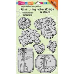 Stampendous Cling Stamps BUILD A BOUQUET SET With Stencil UM Rubber CRS5074