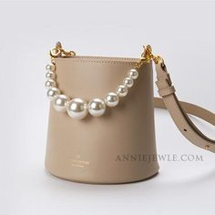 Macarons Bucket Tote w//Genuine Leather Trim Personalized Regular w//Front Design
