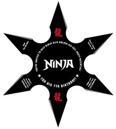 Ninja Birthday Party Throwing Star Invitation. Nine.