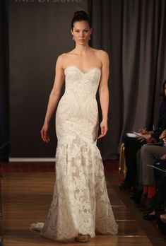 """Brides.com: Our Favorite Lace Wedding Dresses from the Bridal Runways. """"Amour"""" wedding dress, Ines Di Santo  See more Ines Di Santo wedding dresses"""