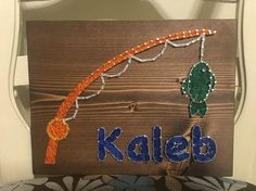 Fishing String Art, Fishing Pole, Fish, Name- order from KiwiStrings on Etsy! www.KiwiStrings.etsy.com